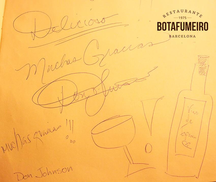 Libro de Visitas Botafumeiro · Don Johnson